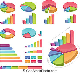 Set Of Coloured Charts - Icons of various charts and...
