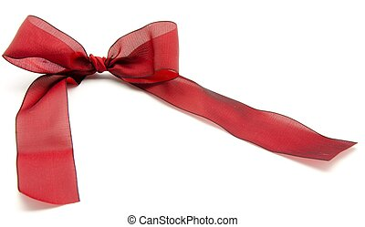 Tie with a knot of red surrounded by white background