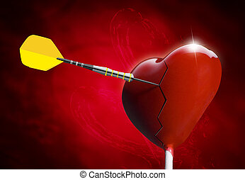 Broken Heart-shaped lollipop hit by an arrow for the...