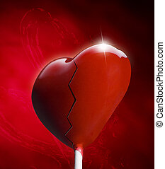 Broken Heart-shaped lollipop for the Valentines day