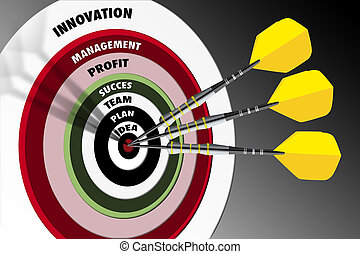 3 yellow arrows hitting the center of a red target, concept of partnership over a grey background