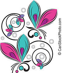 Vector butterfly and fancy flower