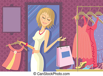 Woman Shopping - Illustration of woman buying clothes in...