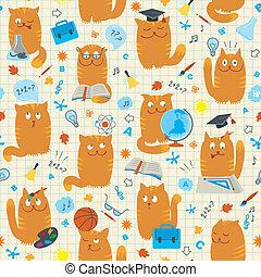 Seamless Pattern - Cats Studing Sch - Vector seamless...