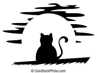 Cat on roof - Black cat at night with moon in background