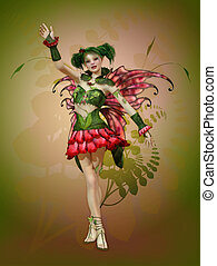 Happy Summer Pixie - a graceful fairy with butterfly wings...