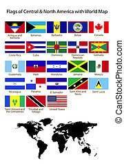 Flags of central & North America with World Map