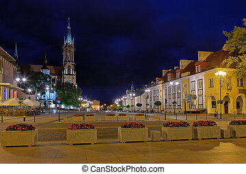 Bialystok by night - City at Night on the left side of the...