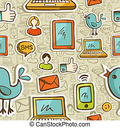 Social media cartoon icons colorful pattern - Social media...