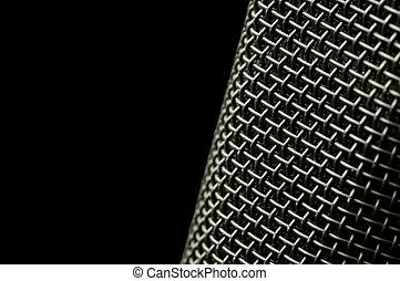 microphone macro - macro of microphone mesh on black