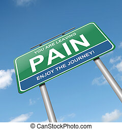 Pain concept - Illustration depicting a green roadsign with...