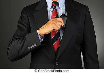 Businessman Taking Wallet From Inside Coat Pocket - Closeup...