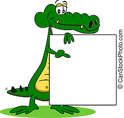 A cartoon crocodile with sign - A cartoon crocodile holding...