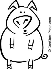 Cartoon pig for coloring page - coloring page illustration...
