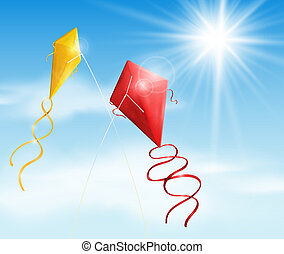 Two kite - Two in the sky flying a kite. Eps 10