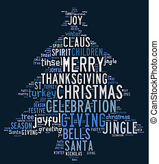 Christmas tree word clouds in blue background - Christmas...