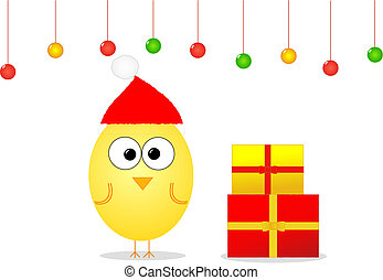 Christmas with bird and gifts