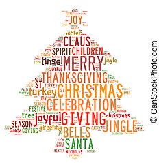 Christmas tree word clouds in white background - Christmas...