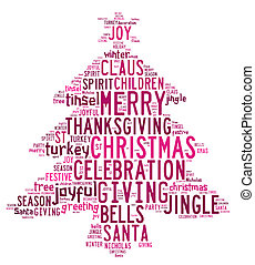 Christmas tree word clouds in white background with pink...