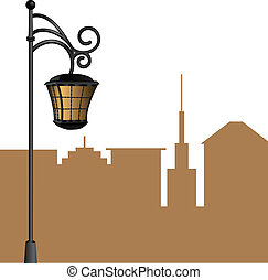 street lamp with shadow city background