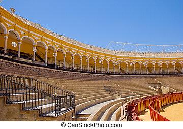 seats of bullfight arena, Sevilla, Spain - seats of...