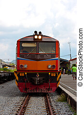 train - thai old train at station