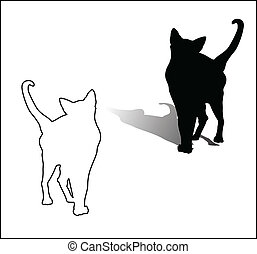 Black and white cat vector illustration