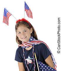 Pretty Young US Patriot - Portrait of a pretty elementary...