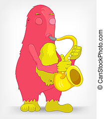 Funny Monster Saxophonist - Cartoon Character Funny Monster...