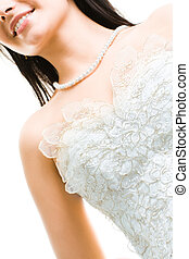 Marriageable girl - Close-up of beautiful bride in white...