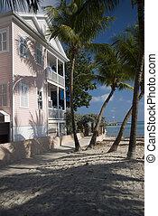 casa, Flórida, arquitetura, tecla, oeste, lar, praia, típico...