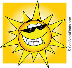 Smiling Sun With Sunglasses With Background