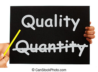 Quality Not Quantity Words On Board - Pointing To Quality...