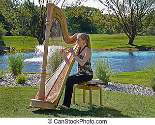 young woman playing a harp - Young woman playing a harp on a...