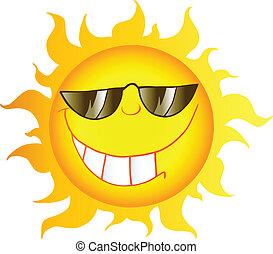 Sun Cartoon Character - Smiling Sun Cartoon Character With...