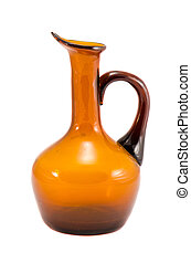 Jug vase yellow brown glass isolated on white