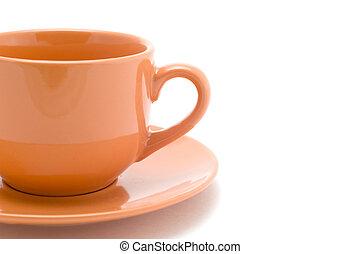 peachy tea cup close up