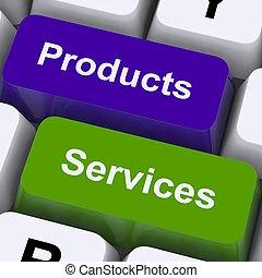 productos, y, servicios, llaves, exposición, Venta,...