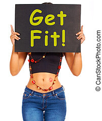 Get Fit Sign Showing Exercise For Fitness - Get Fit Sign...