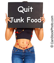 Quit Junk Food Sign Shows Eating Well For Health - Quit Junk...