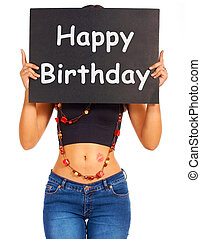 Happy Birthday Sign For Greeting From Girl