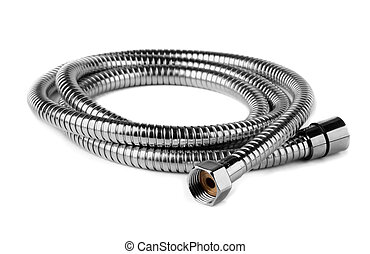 Water hose - Steel water shower flexible hose isolated on...