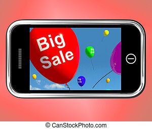 Big Sale Balloons On Mobile Phone Showing Promotions And Reductions