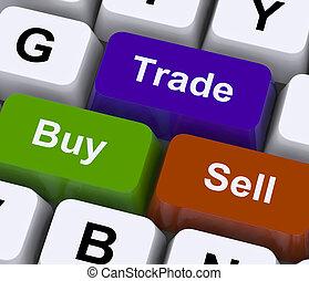 comprar, comercio, y, Venda, llaves, representar, comercio,...
