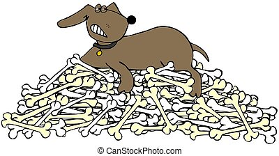 Dog protecting a pile of bones - A snarling dog protecting a...
