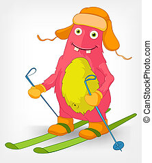Funny Monster Skiing - Cartoon Character Funny Monster...