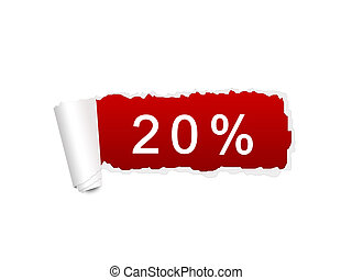20 percent discount on the white ripped paper