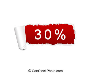 30 percent discount on the white ripped paper