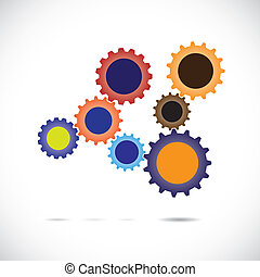 Colorful abstract cogwheels in controlled rotating motion...