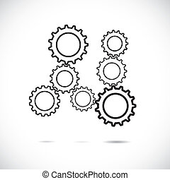 Abstract cogwheels in black and white showing controlled...
